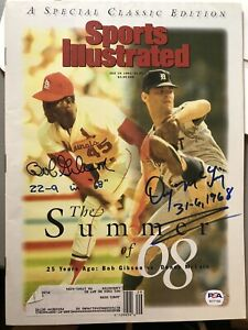 Bob Gibson Denny McLain Dual Signed 1993 Sports Illustrated Magazine w/ Stat PSA