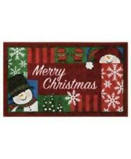 """Nourison 18"""" x 30"""" Merry Christmas Snow man Accent Rug Mat Holiday Decor NWT"""