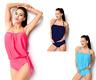 Set 2 pezzi costume da bagno donna maglietta top slip fascia moda mare bikini DD