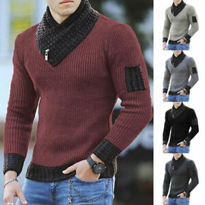 Men's Winter Tops Long Sleeve Coat Knitted Pullover Outwear Sweater Warm Soft