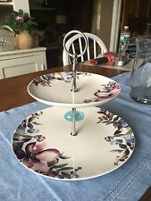 CIROA PORCELAIN PURPLE FLORAL TWO TIER TIDBIT TRAY  THE TEAHOUSE GIFT CO. NWT