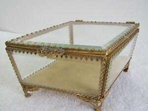 DIAMOND Shape Vintage Trinket Box Footed w/ Glass Lid & Sides Vanity Jewelry