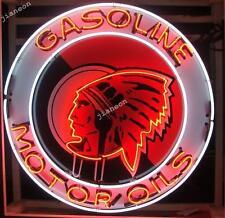 "24""X24"" Red Indian Head Motor Gas & Oil NEON SIGN BEER LIGHT Silkscreen Backing"