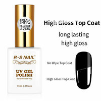 RS Nail Gel Polish Tempered High Gloss Top Coat No Wipe UV LED Varnish 15ml