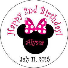 12 1st minnie mouse girls stickers Birthday Party 2.5 Inch Personalized ears