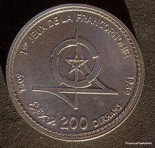 Maroc Morocco , Hassan II , JEUX FRANCOPHONIE  200 Dirhams 1989 Argent  AB10