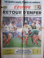 L'Equipe du 23/1/1989 - Rugby : Irlande-France - Monte Carlo : Auriol