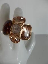 Banana Republic Large Crystal Bronze Flower Cocktail Ring Sz 6 NIP $49
