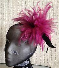 plum pink purple fascinator millinery feather brooch hair clip wedding ascot