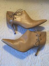 Manolo Blahnik Beautiful Honey Pointy Toe Lace Stilettos Ankle Boots Size 39 9