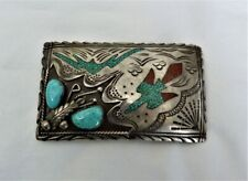 Navajo Jimmie Jimmy Patterson Sterling Silver Turquoise Coral Inlay Belt Buckle