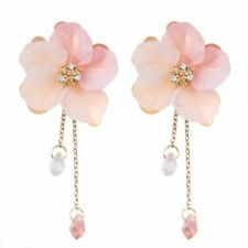 Women Acrylic Crystal Flower Drop Dangle Earrings Pink Long Chain Jewelry Gift
