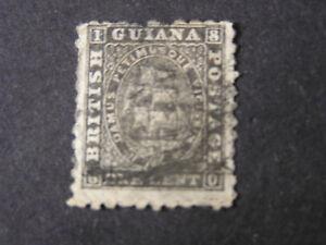 BRITISH GUIANA, SCOTT # 24, 1c. VALUE BLACK ON THIN PAPER 1862-65 ISSUE USED