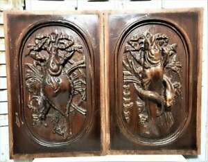 Pair solid fishing trophy carving panel Antique french architectural salvage