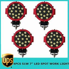 """4X51W 7"""" LED Work Light SPOT RED Color Round Offroad Driving 4WD Boat UTE JEEP"""