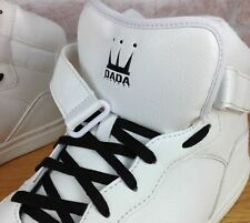 Dada Supreme Men's 12 High-Top Sneakers White Black Strap Shoes Hip-Hop Spellout