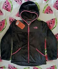North Face Girls OSO HOODIE Grey Pink Soft Fleece Jacket M 10-12 new