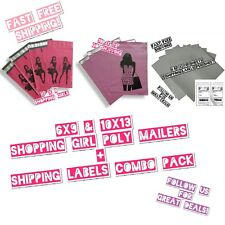 160 Combo Pack: (80)Shopping Girl Mix Size Poly Mailers & (80)Shipping Labels