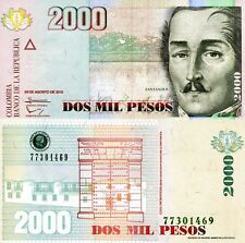 Colombia 2000 Pesos Banknote World Paper Money Unc Currency p457r 2013 Bill Note