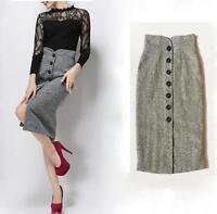 Womens Winter Button High Waist Wool Blend Straight Pencil Skirt
