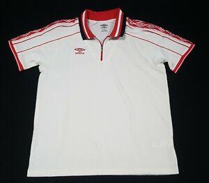 Umbro Mens Premier Futbol Soccer Jersey white -Red Retro size Large