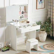 Modern White Dressing Table Jewelry Makeup Desk w/ Large Mirror & Drawer Bedroom