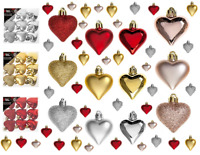 9 x 40mm Luxury Hearts Baubles Glitter Matt Hanging Christmas Tree Decorations