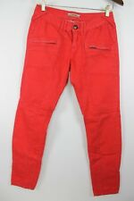 Free People Red Skinny Denim Jeans Zippered Pockets sz 27 Actual 29x29.5