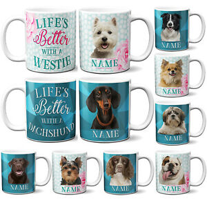 Personalised Dog Mug LIFS BETTER WITH A DOG Cup Cute Puppy Quote Birthday Gift