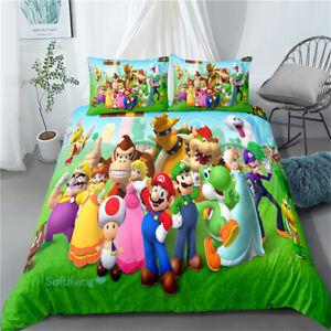 Linen Queen/Single/Double/King Bed Quilt/Doona/Duvet Cover Set Green Super Mario