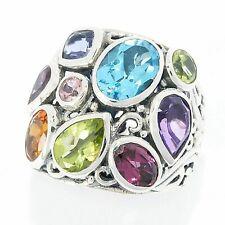 Samuel B Behnam Large Multi Color Gemstone Ring Sterling Silver 55866R.SLM