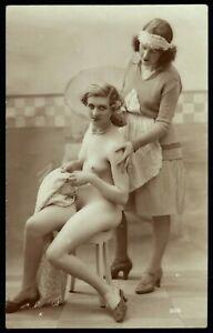 Original 1910 French Postcard Photo Nude Lesbian Girls Maid & Mistress Romance