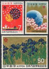"""Japón 1970 """"Expo 70""""/mundo Feria/flores/fuegos Artificiales/Arte/Pintura 3 V Set (n25194)"""