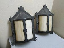 Pair of ANTIQUE CAST IRON EXTERIOR WALL SCONCE LIGHT WITH SLAG GLASS VICTORIAN