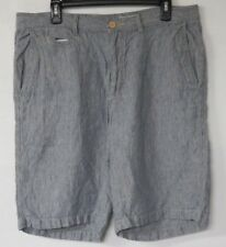 Tommy Bahama Men's Shorts Size 35 Flat Front 100% Linen Casual Gray Striped