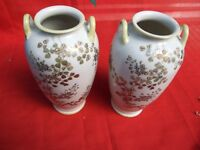 Antique 1930's Pair Japanese Porcelain Vases Silver Gold  Floral Decorations Vnt