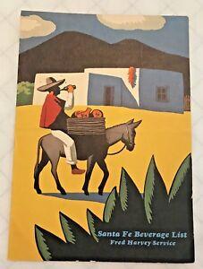 Vintage Santa Fe RR Beverage List Fred Harvey Service - 1950's