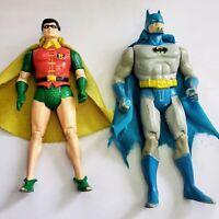 Vintage Kenner Super Powers Batman & Robin Lot Figures Original Capes - Working!