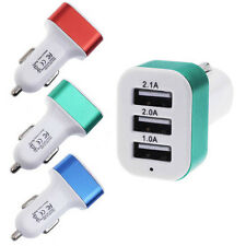 1X Universal Car Charger 12V 24V To 5V 3 USB Charger Adapter For Smart Phone BU
