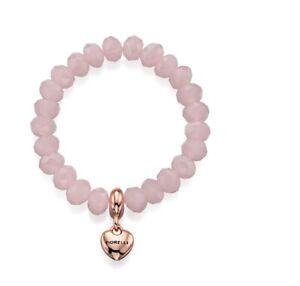 Fiorelli Fashion Rose Quartz Glass Bead & Rose Gold Heart Charm Stretch Bracelet