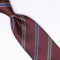 John G Hardy Mens Silk Necktie Burgundy Blue Green Stripe Weave Woven Tie Italy