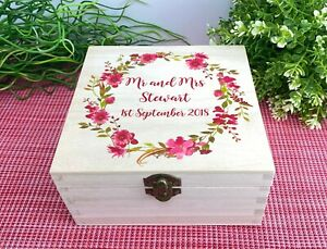 Floral Wreath Wedding Memory Box - Personalised Engagement Gift - Happily Ever