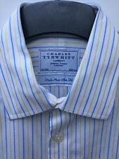 "CHARLES TYRWHITT WHITE FORMAL SHIRT SIZE 15.5"" COLLAR BLUE STRIPES NON IRON SLIM"