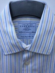 CHARLES TYRWHITT WHITE FORMAL SHIRT SIZE 15.5 COLLAR BLUE STRIPES NON IRON SLIM*