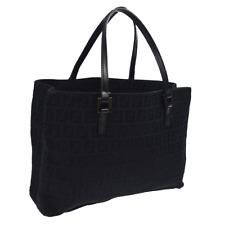 FENDI Zucca Pattern Hand Bag Purse Black Canvas Leather Authentic BT16721