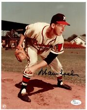 Warren Spahn Milwaukee Braves HOF 1973 Signed Auto 8X10 Photo JSA COA