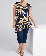 Plus Sizes Navy Blue Floral Asymmetrical Hemline Viscose Tunic/Top Size 22
