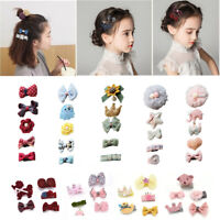 5Pcs/Set Baby Girls Boutique Head Clips Hair Bows Crown Princess Bobbles Gift