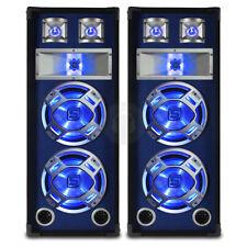 "2x Skytec Dual 10"" Blue LED PA Speakers Sound System Package 1600 Watt UK Stock"
