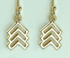 Genuine 9ct SOLID Gold Trisomy 21 Arrow Drop Earrings Down-syndrome Lucky Few